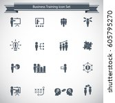 business training icon set | Shutterstock .eps vector #605795270