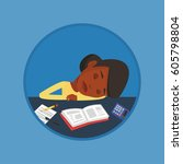 fatigued student sleeping at... | Shutterstock .eps vector #605798804