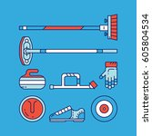 curling sport main icons and... | Shutterstock .eps vector #605804534
