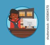satisfied business woman... | Shutterstock .eps vector #605804570