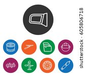 set of 9 part outline icons... | Shutterstock .eps vector #605806718