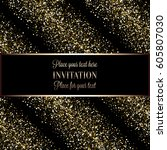 invitation or greeting card... | Shutterstock .eps vector #605807030