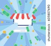 online shopping flat... | Shutterstock .eps vector #605807690