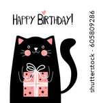 kawaii black cat with gift box... | Shutterstock .eps vector #605809286
