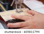 retro sewing machine and child... | Shutterstock . vector #605811794