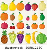 fruits icons flat colors on... | Shutterstock .eps vector #605812130