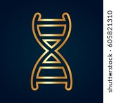 gray dna view icon isolated on... | Shutterstock .eps vector #605821310