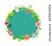 the flowers background is....   Shutterstock .eps vector #605823404