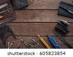 leather handbag. work place... | Shutterstock . vector #605823854