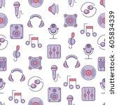 music themed seamless pattern... | Shutterstock .eps vector #605834339