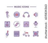set of outline music icons on... | Shutterstock .eps vector #605834363