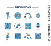 set of outline music icons on... | Shutterstock .eps vector #605834399