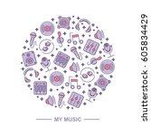 music themed circle pattern...   Shutterstock .eps vector #605834429