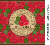 vintage cowberry label on... | Shutterstock . vector #605834438