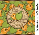 vintage apple label on seamless ... | Shutterstock . vector #605834474