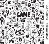 computer games seamless... | Shutterstock .eps vector #605840144