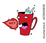screaming mug with too hot tea | Shutterstock .eps vector #605840858