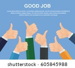 many thumbs up isolated on... | Shutterstock .eps vector #605845988