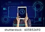 clock time reminder alarm... | Shutterstock . vector #605852693