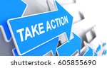take action   text on blue...