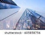 double exposure of perspective... | Shutterstock . vector #605858756