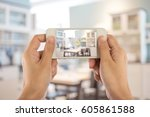 taking photo with mobile smart... | Shutterstock . vector #605861588