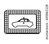 figure border taxi side car... | Shutterstock .eps vector #605862128