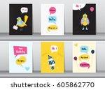 set of birthday card on retro...   Shutterstock .eps vector #605862770