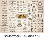 Vintage page dividers old crest and frames. Calligraphic Design logo set. Vector flourishes illustration. Border, royal ornament, decor menu elements, card invitations, labels, Restaurant and Cafe | Shutterstock vector #605865278