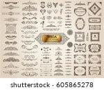 vintage page dividers old crest ... | Shutterstock .eps vector #605865278