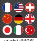 set of round flags world top... | Shutterstock .eps vector #605865938