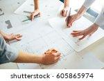construction engineer team...   Shutterstock . vector #605865974