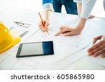 construction engineering. close ...   Shutterstock . vector #605865980