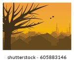 city urban silhouette in autumn | Shutterstock .eps vector #605883146