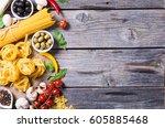 italian food   ingredient for... | Shutterstock . vector #605885468