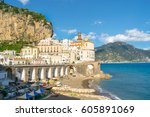 beautiful view of atrani city... | Shutterstock . vector #605891069