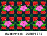 cute hibiscus flowers pattern . ... | Shutterstock . vector #605895878