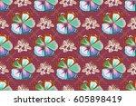 raster abstract flower... | Shutterstock . vector #605898419