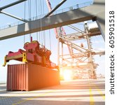 container operation in the port. | Shutterstock . vector #605901518