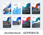 business vector set. brochure...   Shutterstock .eps vector #605908418