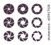 camera shutter apperture icons... | Shutterstock .eps vector #605917028