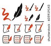 write icon set | Shutterstock .eps vector #605919143