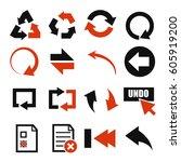 undo icon set | Shutterstock .eps vector #605919200