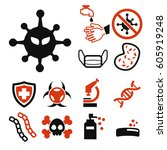 virus icon set | Shutterstock .eps vector #605919248