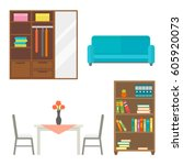 furniture home decor icon set... | Shutterstock .eps vector #605920073
