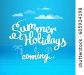 summer travel vector... | Shutterstock .eps vector #605924198