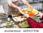 pleasant woman giving lunch to... | Shutterstock . vector #605927558