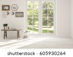 white empty room with green... | Shutterstock . vector #605930264