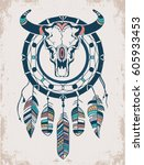 buffalo skull with feathers and ... | Shutterstock .eps vector #605933453