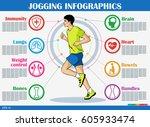 running and jogging... | Shutterstock .eps vector #605933474